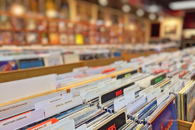 obchod s vinylovými deskami